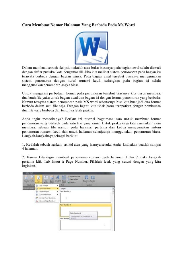Cara membuat nomor halaman yang berbeda pada Microsoft