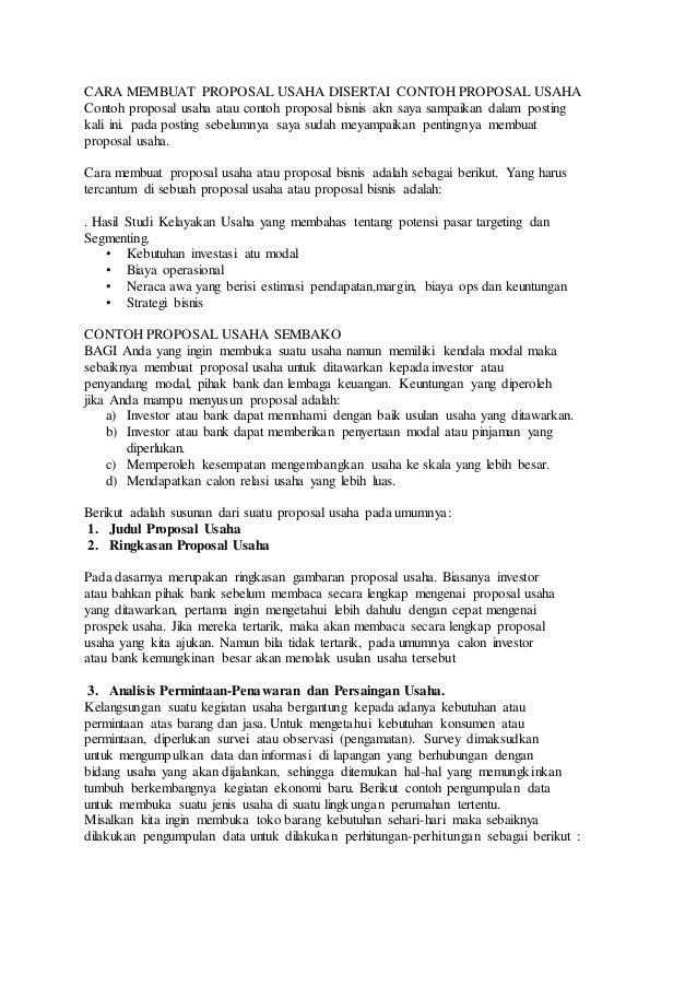 Cara Membuat Proposal Usaha Disertai Contoh Proposal Usaha