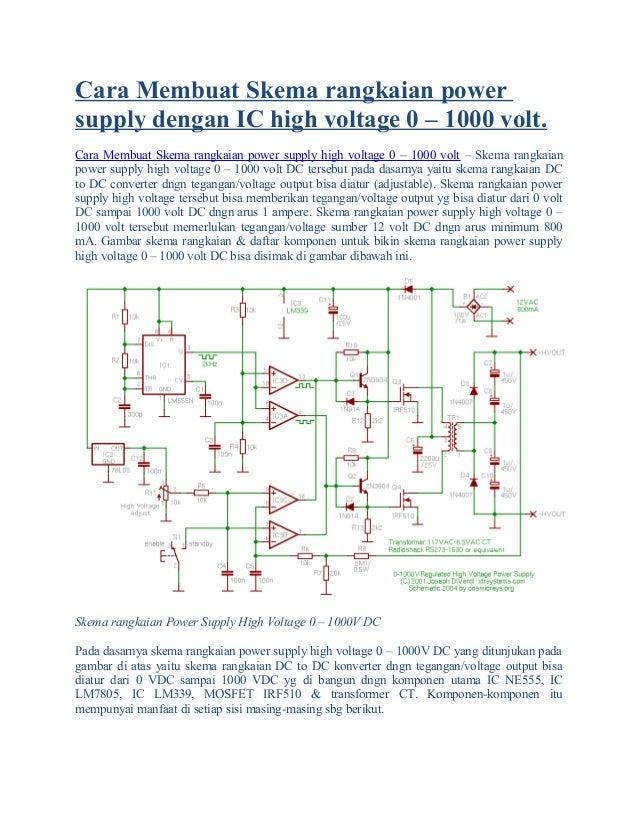Cara membuat skema rangkaian power supply dengan ic high voltage 0
