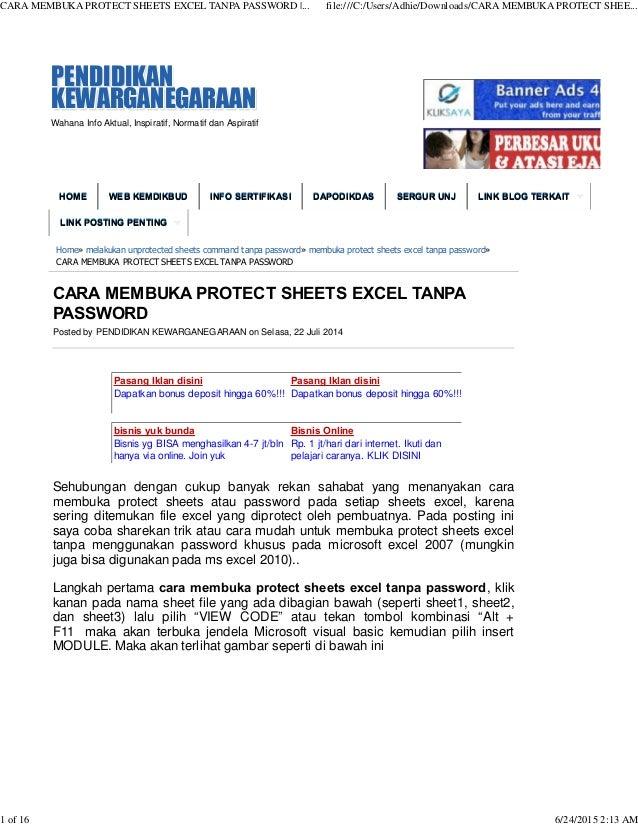 cara unprotect sheet command excel