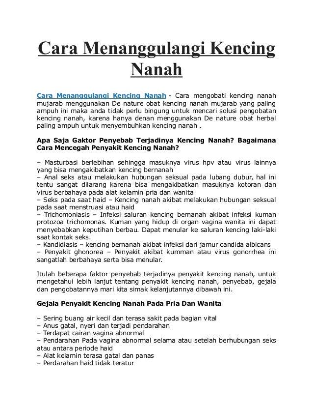 Cara Menanggulangi Kencing Nanah Cara Menanggulangi Kencing Nanah - Cara mengobati kencing nanah mujarab menggunakan De na...