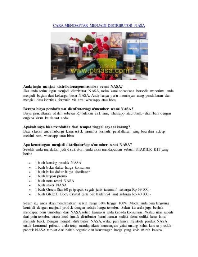 Cara Mendaftar Menjadi Distributor Nasa Aceh