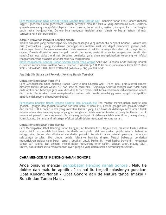 Cara Mendapatkan Obat Kencing Nanah Gangjie Dan Ghosiah Asli - Kencing Nanah atau Gonore (bahasa Inggris: gonorrhea atau g...
