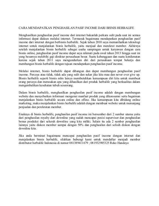 CARA MENDAPATKAN PENGHASILAN PASIF INCOME DARI BISNIS HERBALIFEMenghasilkan penghasilan pasif income dari internet bukanla...