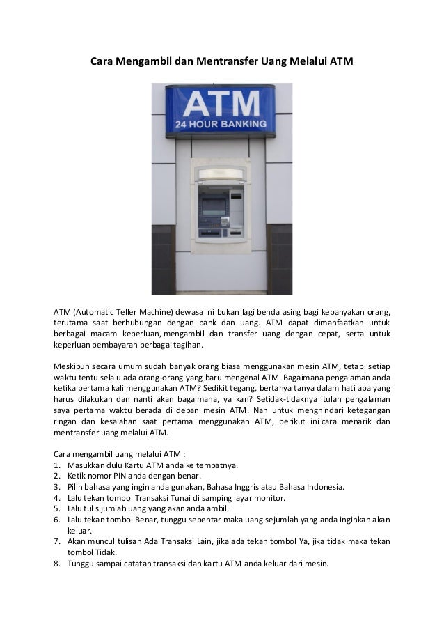 cara mengambil dan mentransfer uang melalui atm 1 638