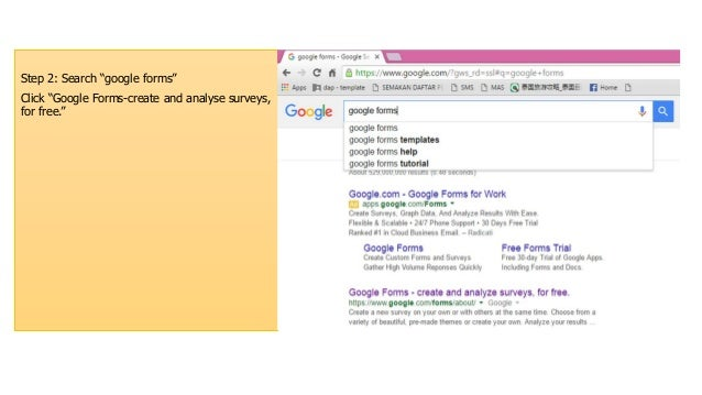 """Step 2: Search """"google forms"""" Click """"Google Forms-create and analyse surveys, for free."""""""