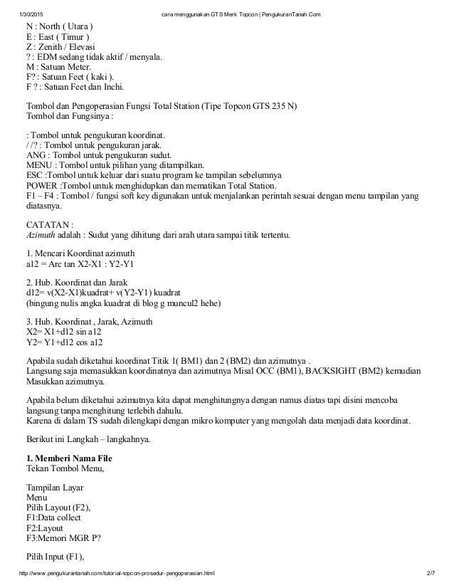 Topcon Total station Tutorial pdf Book