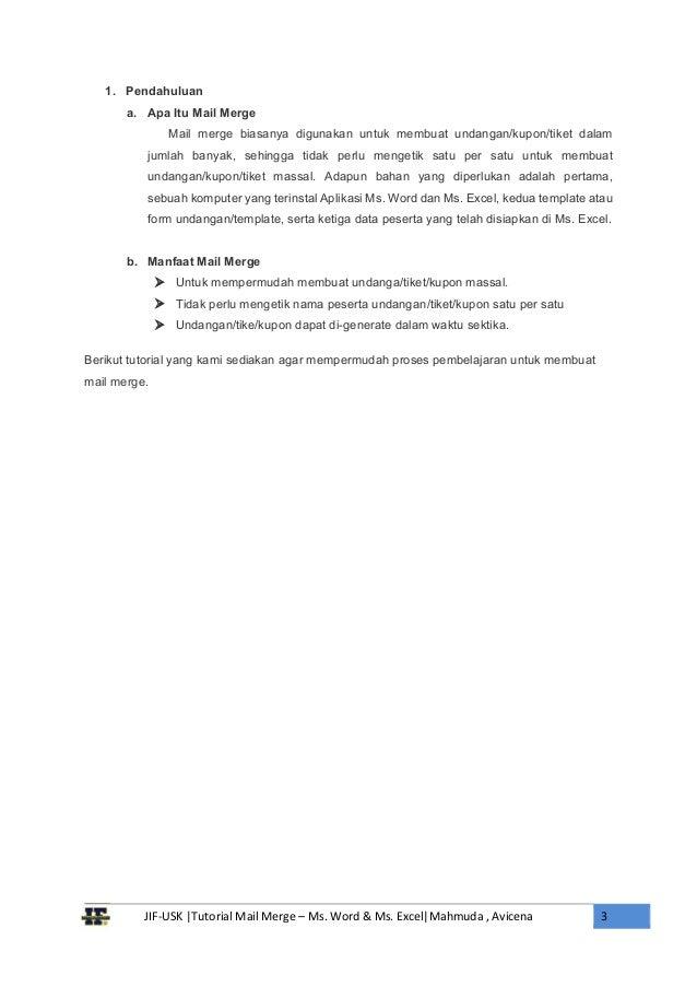 Tutorial Mail Merge Ms Word dan Ms Excel