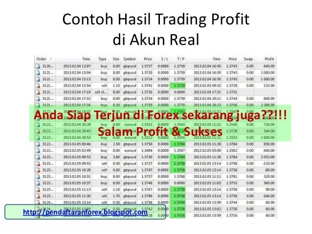Contoh Hasil Trading Profit                 di Akun Real   Anda Siap Terjun di Forex sekarang juga??!!!              Salam...