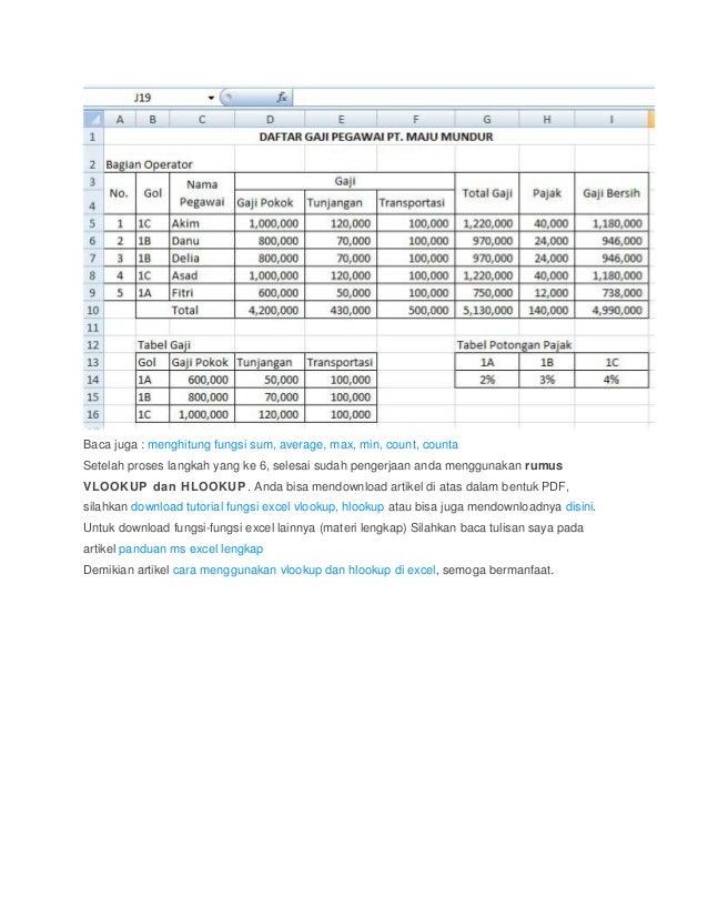 Fungsi vlookup dan hlookup excel pdf download