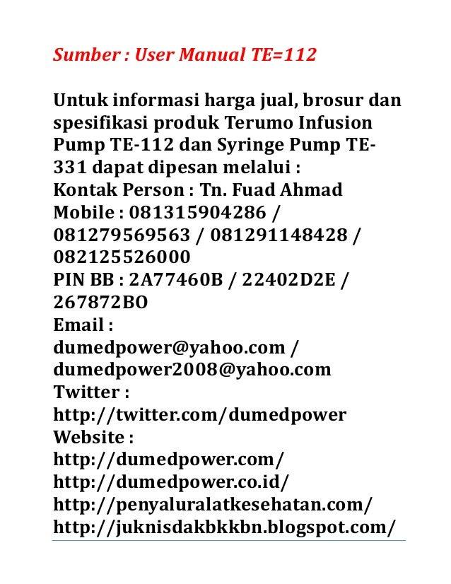 Terumo infusion pump te112