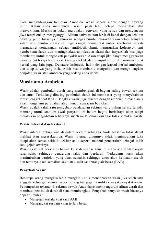 Cara menghilangkan benjolan Ambeien Wasir secara alami dengan bawang putih__Kalau anda mempunyai wasir pasti tahu betapa m...