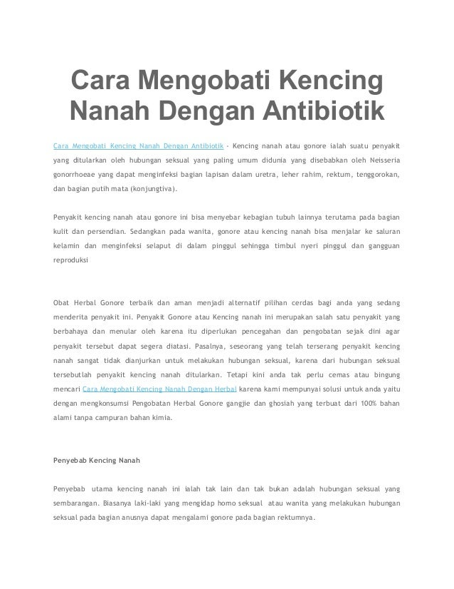 Cara Mengobati Kencing Nanah Dengan Antibiotik Cara Mengobati Kencing Nanah Dengan Antibiotik - Kencing nanah atau gonore ...