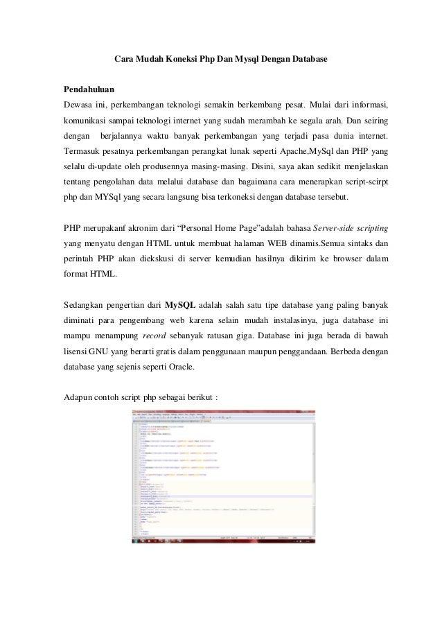 Cara Mudah Koneksi Php Dan Mysql Dengan Database