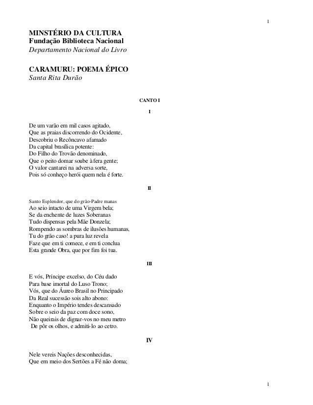 1 1 MINSTÉRIO DA CULTURA Fundação Biblioteca Nacional Departamento Nacional do Livro CARAMURU: POEMA ÉPICO Santa Rita Durã...
