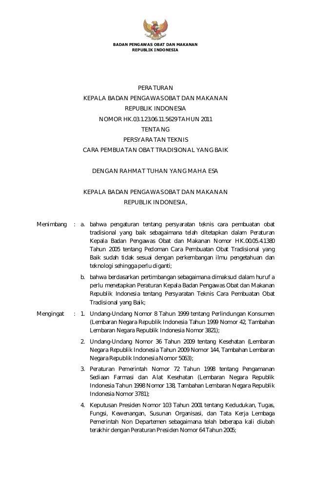 BADAN PENGAWAS OBAT DAN MAKANAN                                 REPUBLIK INDONESIA                                   PERAT...