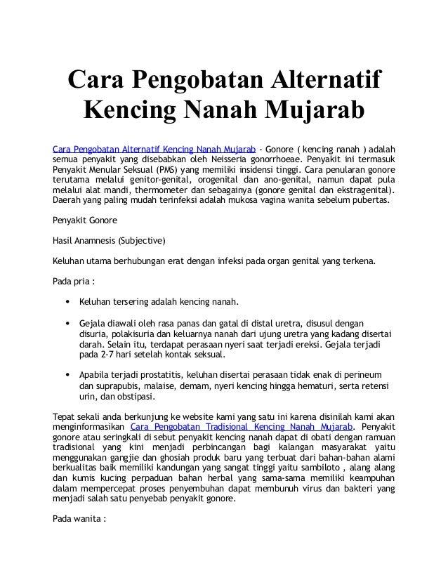 Cara Pengobatan Alternatif Kencing Nanah Mujarab Cara Pengobatan Alternatif Kencing Nanah Mujarab - Gonore ( kencing nanah...