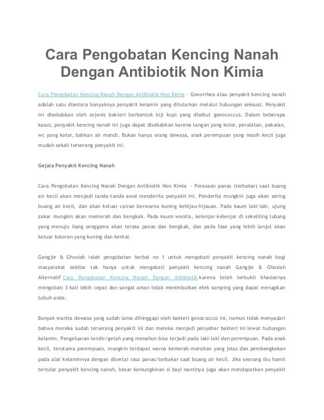 Cara Pengobatan Kencing Nanah Dengan Antibiotik Non Kimia Cara Pengobatan Kencing Nanah Dengan Antibiotik Non Kimia - Gono...