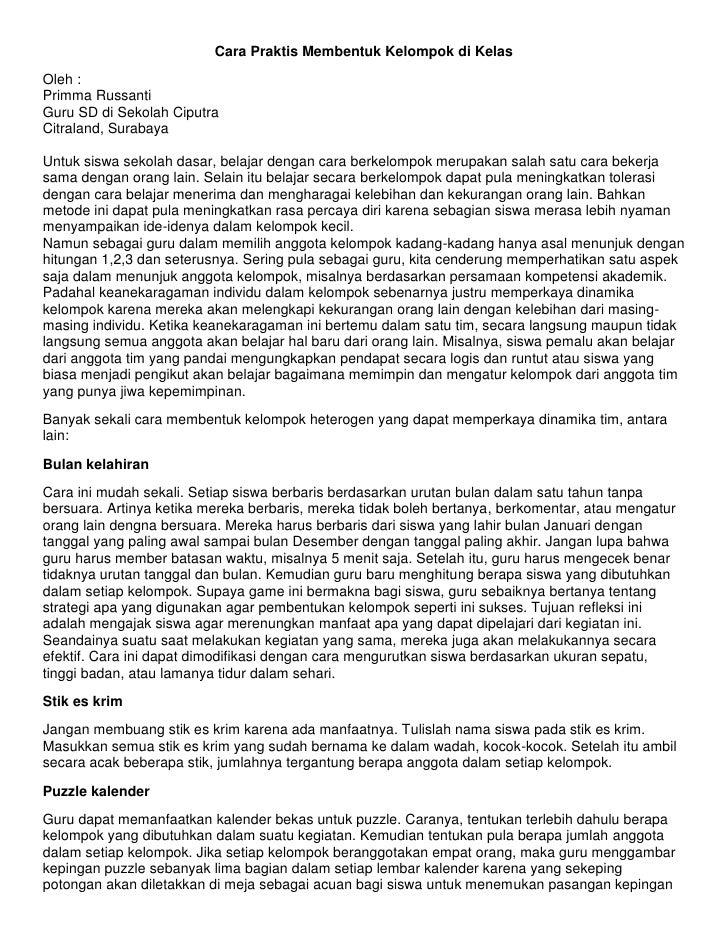 Cara Praktis Membentuk Kelompok di KelasOleh :Primma RussantiGuru SD di Sekolah CiputraCitraland, SurabayaUntuk siswa seko...