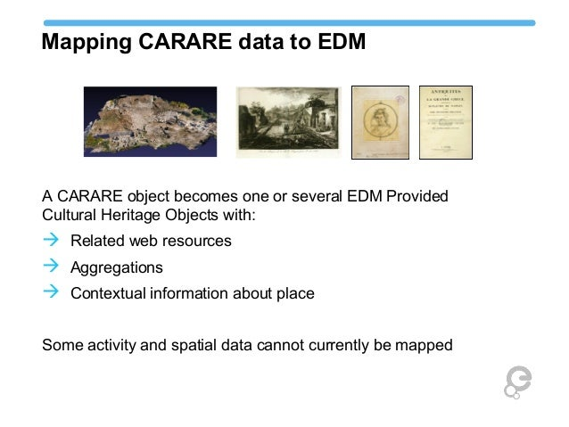 Mapping CARARE data to EDM A CARARE object becomes one or several EDM Provided Cultural Heritage Objects with:  Related w...
