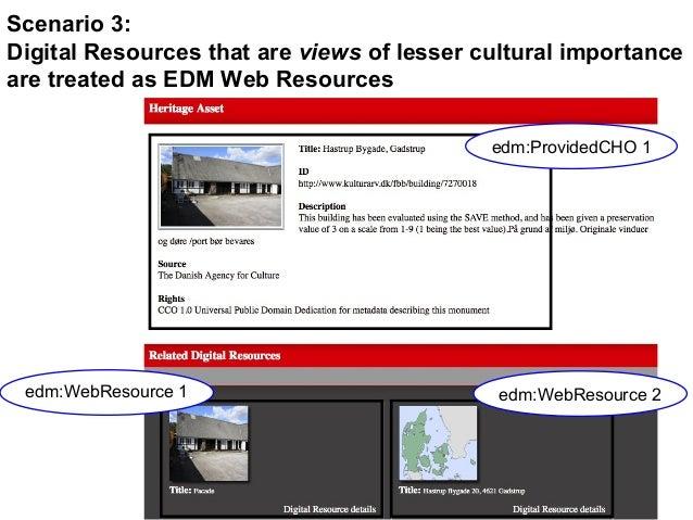 edm:ProvidedCHO 1 edm:WebResource 2edm:WebResource 1 Scenario 3: Digital Resources that are views of lesser cultural impor...