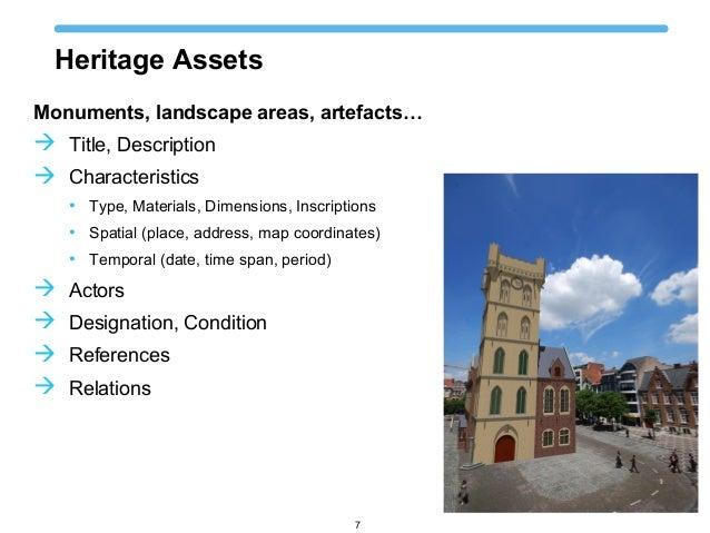 Heritage Assets Monuments, landscape areas, artefacts…  Title, Description  Characteristics • Type, Materials, Dimension...