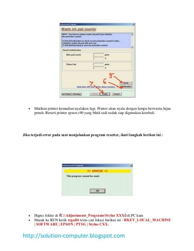 Epson Stylus C90 manual Reset