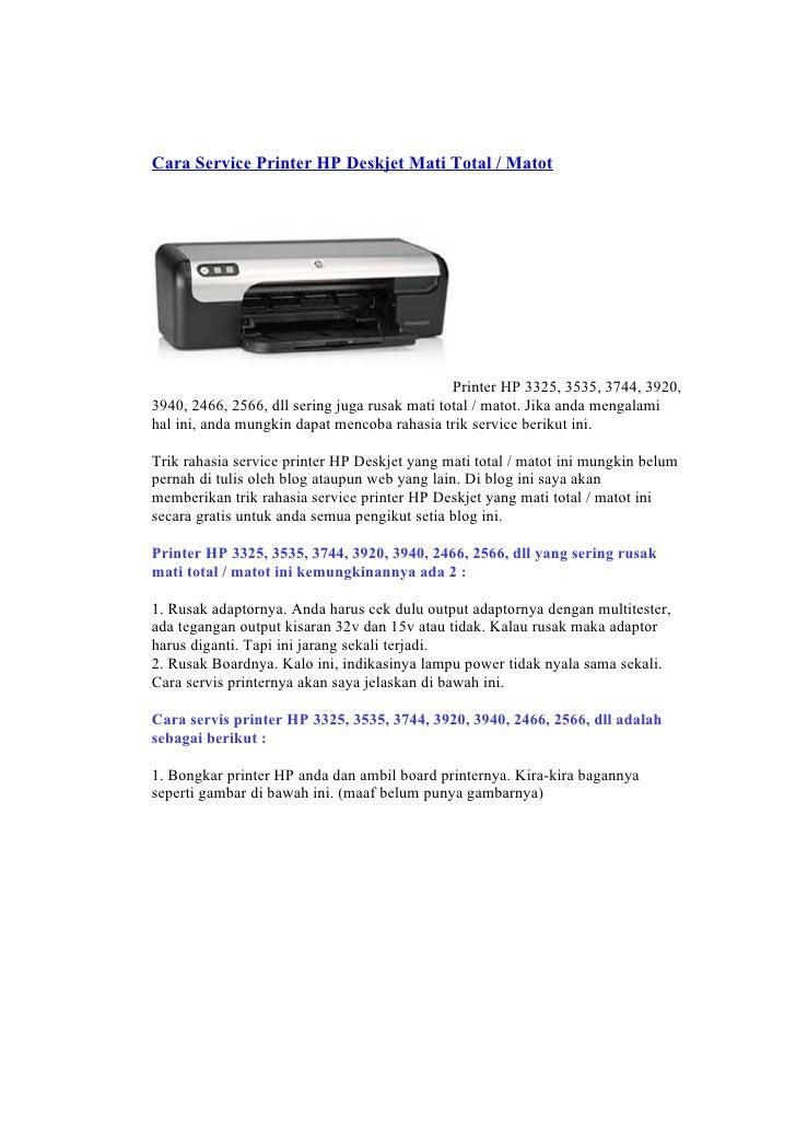 Cara Service Printer HP Deskjet Mati Total / Matot                                                    Printer HP 3325, 353...