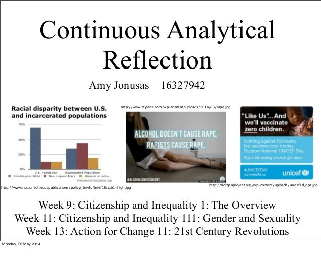 Continuous Analytical Reflection Amy Jonusas 16327942 Week 9: Citizenship and Inequality 1: The Overview Week 11: Citizens...