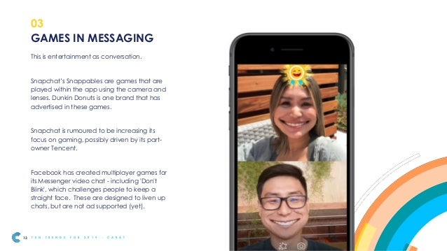 The inclusion of gaming into messaging will make messaging much stronger as a channel, commanding more of people's time. A...