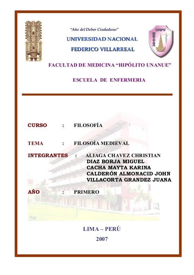 """""""Año del Deber Ciudadano""""  UNIVERSIDAD NNAACCIIOONNAALL  FFEEDDEERRIICCOO VVIILLLLAARRRREEAALL  FACULTAD DE MEDICINA """"HIPÓ..."""