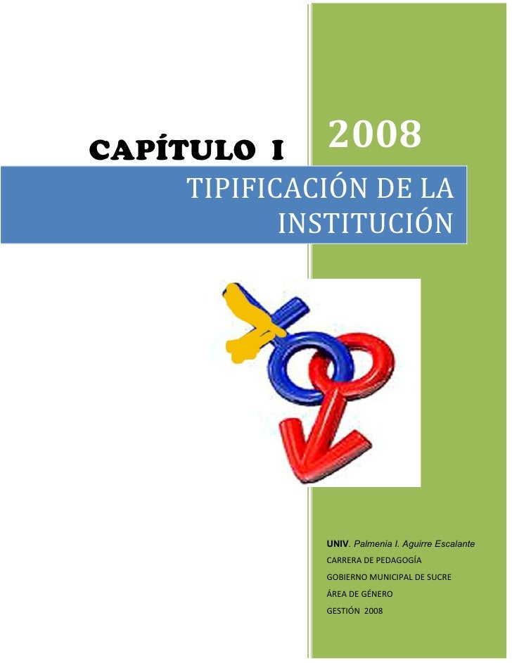 CAPÍTULO I 2008     TIPIFICACIÓN DE LA            INSTITUCIÓN              UNIV. Palmenia I. Aguirre Escalante            ...