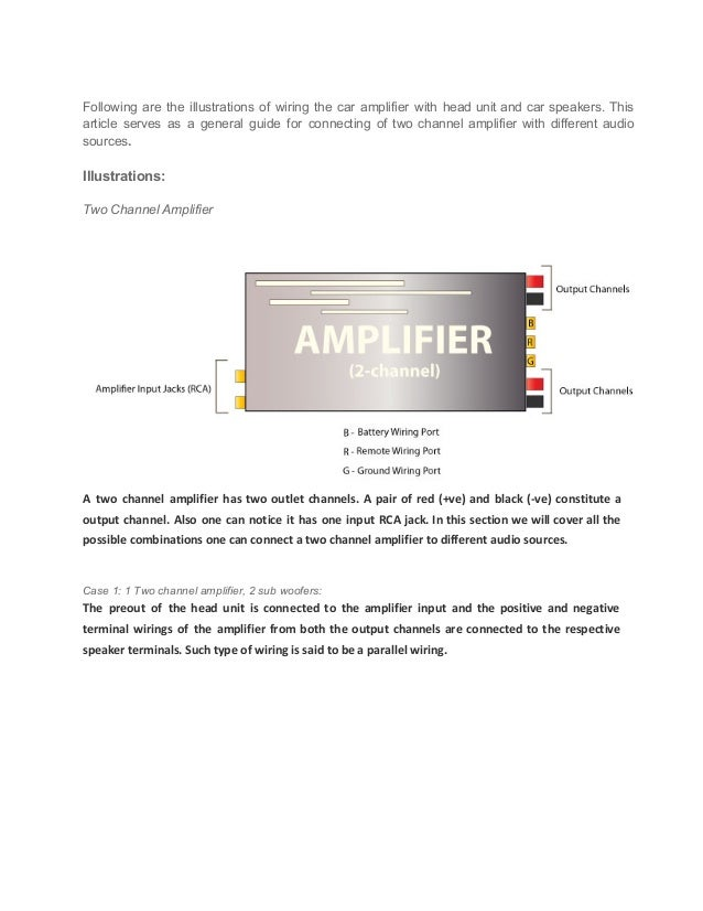 car audio guide how to connect a 2 channel amplifier car subwoofer wiring following are the illustrations of wiring the car amplifier with head unit and car speakers