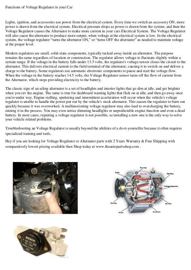 Car automotive voltage regulator working
