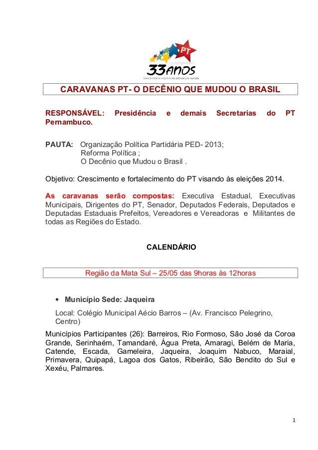 CARAVANAS PT- O DECÊNIO QUE MUDOU O BRASILRESPONSÁVEL: Presidência e demais Secretarias do PTPernambuco.PAUTA: Organização...