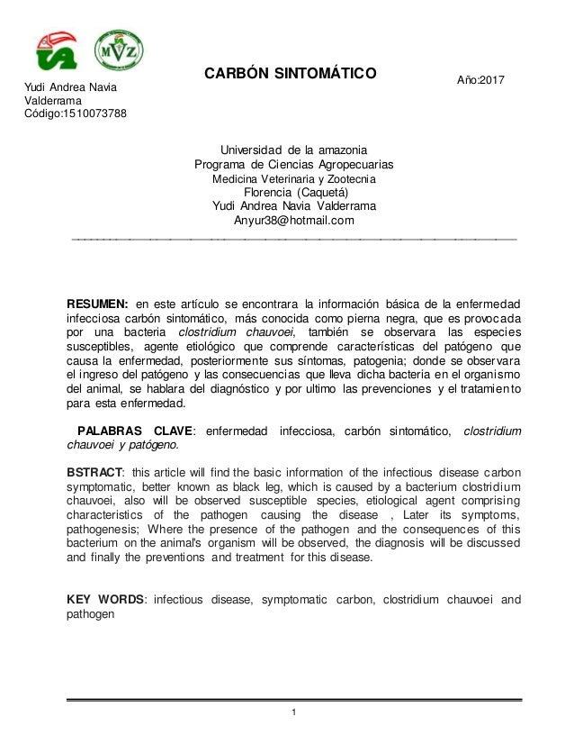 CARB�N SINTOM�TICO A�o:2017 Yudi Andrea Navia Valderrama C�digo:1510073788 1 Universidad de la amazonia Programa de Cienci...