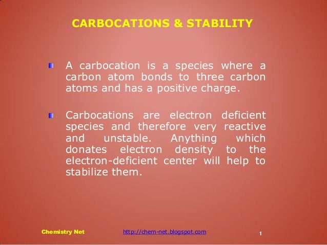A carbocation is a species where a carbon atom bonds to three carbon atoms and has a positive charge. Carbocations are ele...