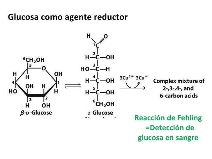 Glucosa como agente reductor Reacción de Fehling =Detección de glucosa en sangre
