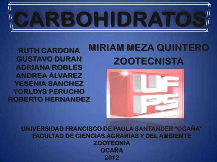 """MIRIAM MEZA QUINTERO                      ZOOTECNISTAUNIVERSIDAD FRANCISCO DE PAULA SANTANDER """"OCAÑA""""   FACULTAD DE CIENCI..."""
