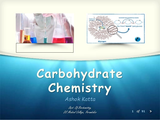 1 of 91 Carbohydrate Chemistry Ashok Katta Dept. Of Biochemistry, DS Medical College, Perambalur