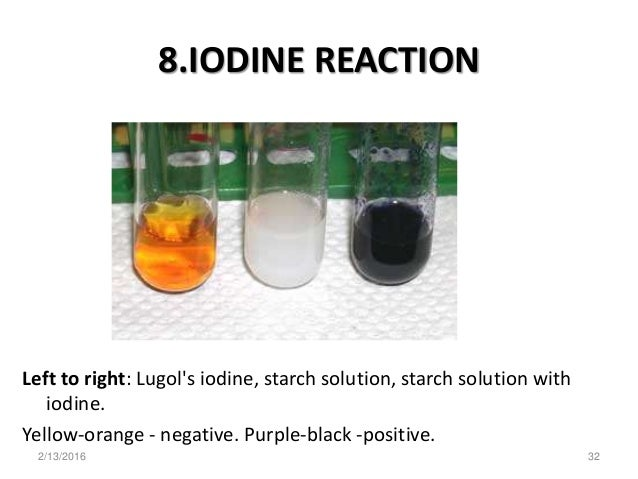 the iodine test sor starch The effects of the temperature of by testing for it with iodine the iodine test is used to test for the presence of starch iodine dissolved in an.