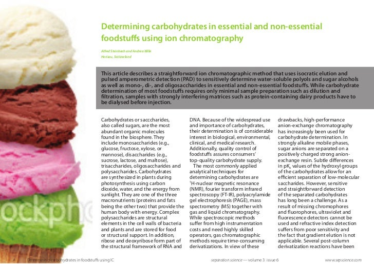 Determining carbohydrates in essential and non-essential                                            foodstuffs using ion c...