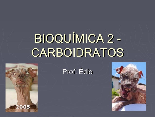 BIOQUÍMICA 2 -CARBOIDRATOS    Prof. Édio