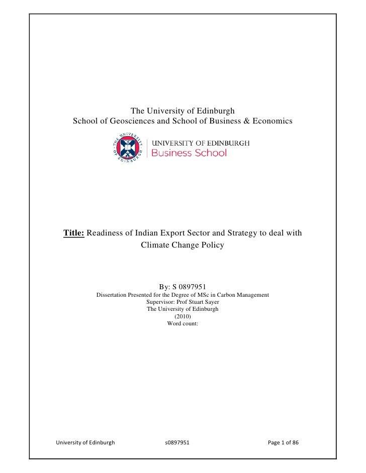 The University of Edinburgh  School of Geosciences and School of Business & EconomicsTitle: Readiness of Indian Export Sec...