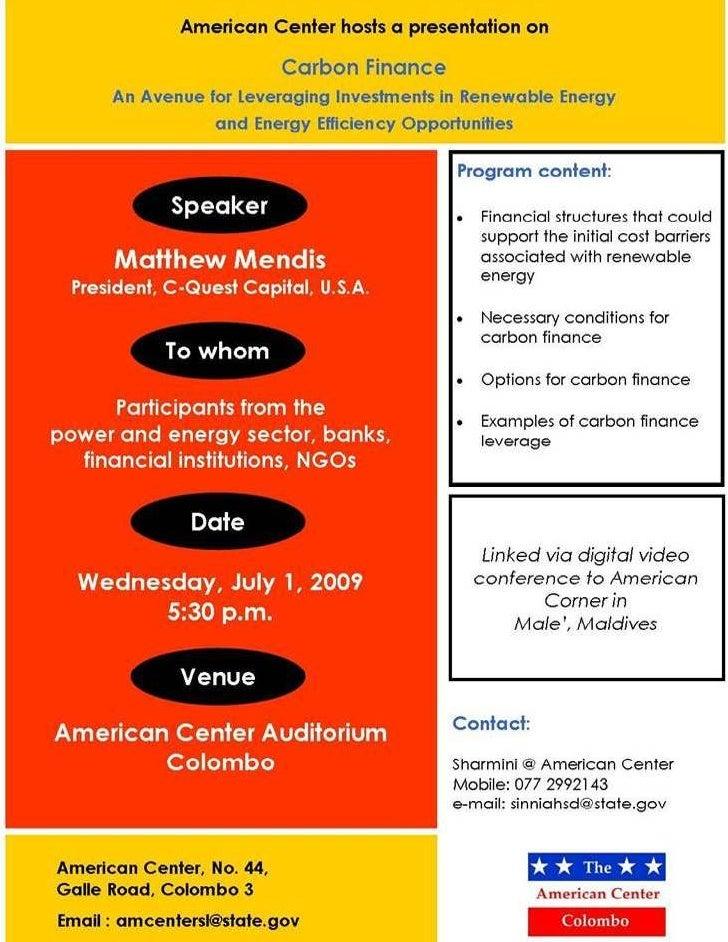 Presentation on Carbon Finance