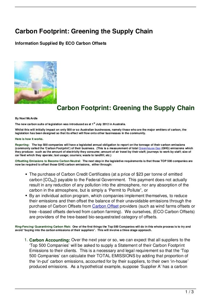Carbon Footprint: Greening the Supply ChainInformation Supplied By ECO Carbon Offsets                               Carbon...