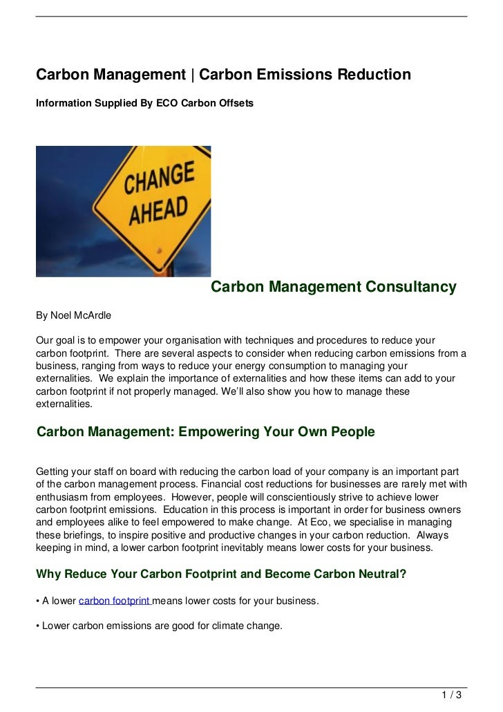 Carbon Management | Carbon Emissions ReductionInformation Supplied By ECO Carbon Offsets                                  ...