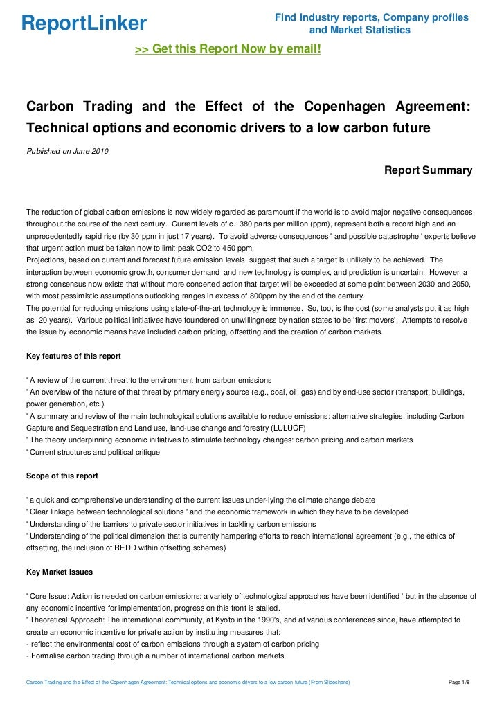 Carbon Trading And The Effect Of The Copenhagen Agreement Technical
