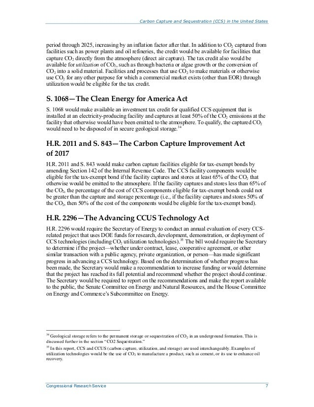 Carbon Capture and Sequestration (CCS) in the United States Congressional Research Service 7 period through 2025, increasi...