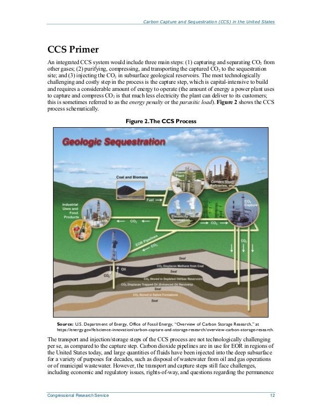 Carbon Capture and Sequestration (CCS) in the United States Congressional Research Service 12 CCS Primer An integrated CCS...